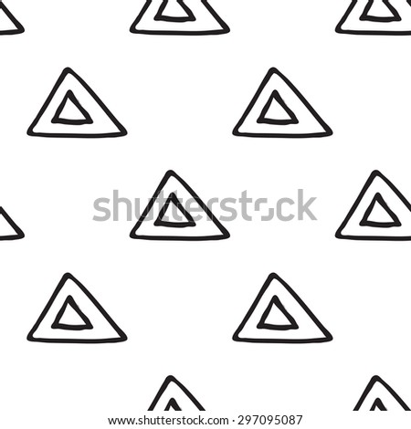 Black outline hand drawn vector triangle seamless pattern. Cute doodle modern isolated pop art elements - stock vector