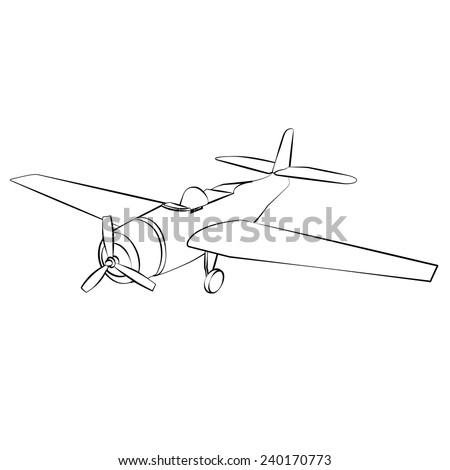 Black outline vector airplane on white background. - stock vector