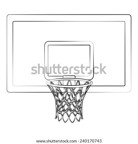 Black outline vector Basketball hoop on white background. - stock vector