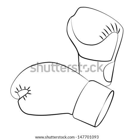 Black outline vector boxing gloves on white background. - stock vector