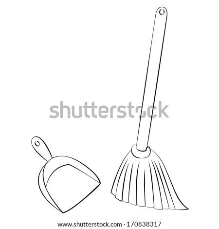 Black outline vector Broom & Dustpan on white background. - stock vector