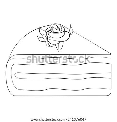 Black outline vector Cake on white background. - stock vector