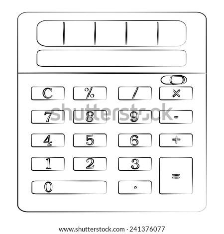 Black outline vector Calculator on white background. - stock vector