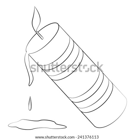 Black outline vector candle stick on white background. - stock vector