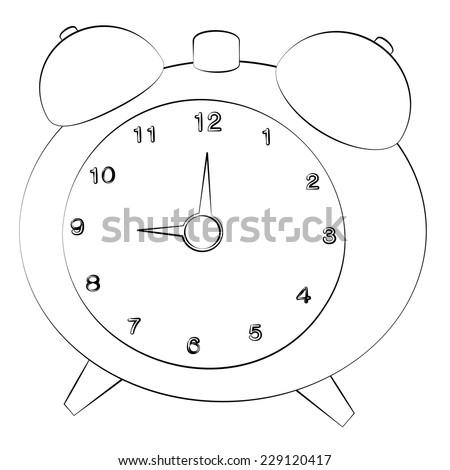 Black outline vector clock on white background. - stock vector