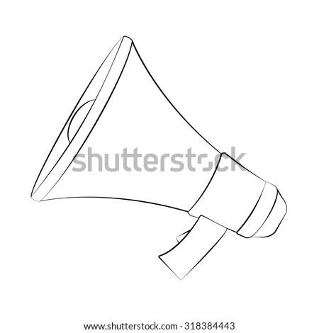 Black outline vector megaphone on white background. - stock vector