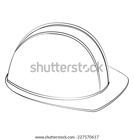 Black outline vector safety helm on white background. - stock vector