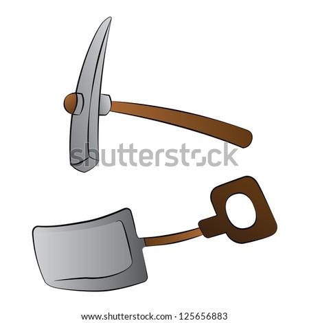 Black outline vector shovel and mattock on white background. - stock vector
