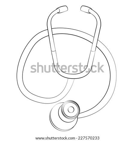 Black outline vector Stethoscope on white background. - stock vector
