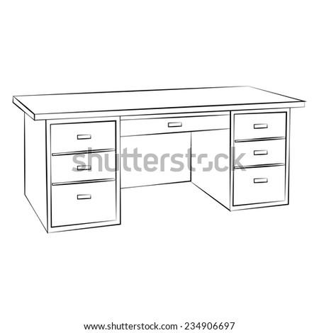 Black outline vector table on white background. - stock vector