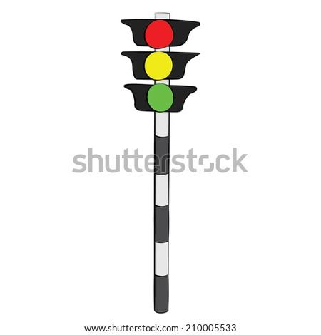 Black outline vector traffic light on white background. - stock vector