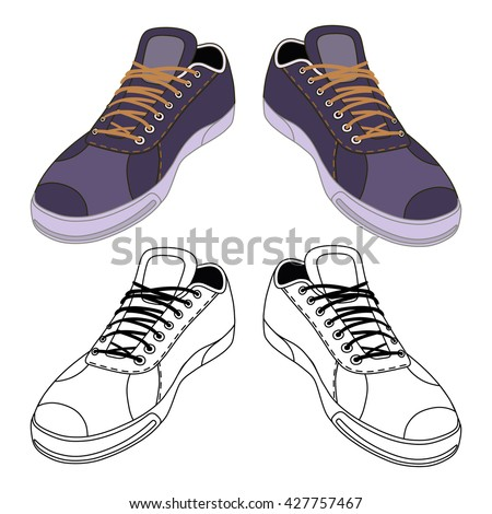 Black outlined & colored sneakers shoes pair front view, vector illustration isolated on white background - stock vector