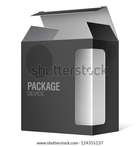 Black Package Box with a transparent plastic window. Vector illustration - stock vector