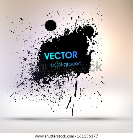 Black Paint Explosion, Abstract Background, Vector - stock vector