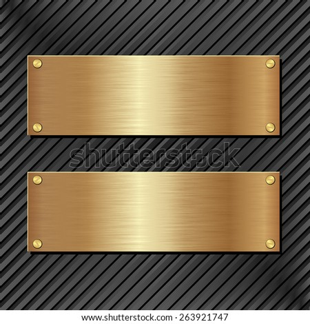 black panel with two golden banners - stock vector