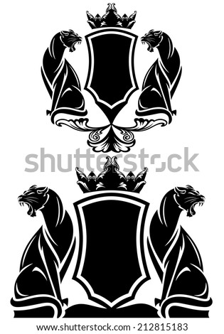 black panther coat of arms emblem - royal crown over shield and wild animals vector design over white - stock vector