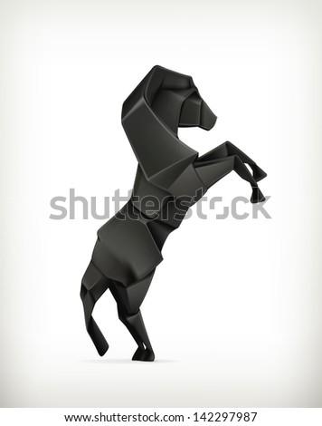 Black paper horse, vector origami - stock vector