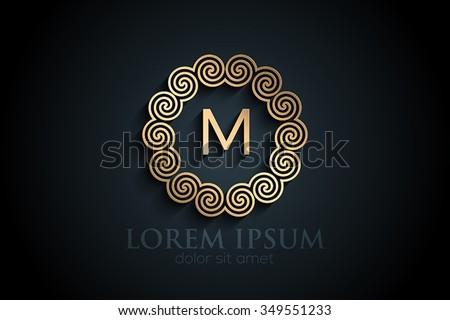 Black paper M monogram letter logo design alphabet collection - stock vector