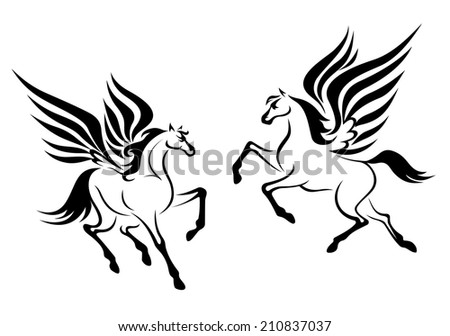 Black pegasus horses with wings for religious design - stock vector