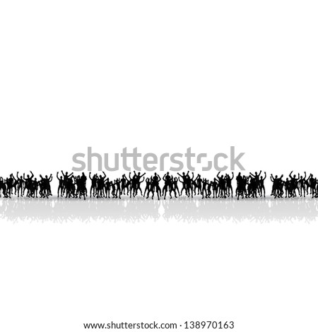 black people silhouettes. crowd concept - stock vector