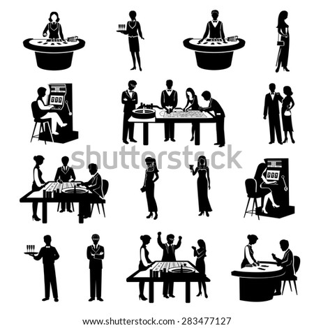 Black people silhouettes gambling in casino icons set isolated vector illustration - stock vector