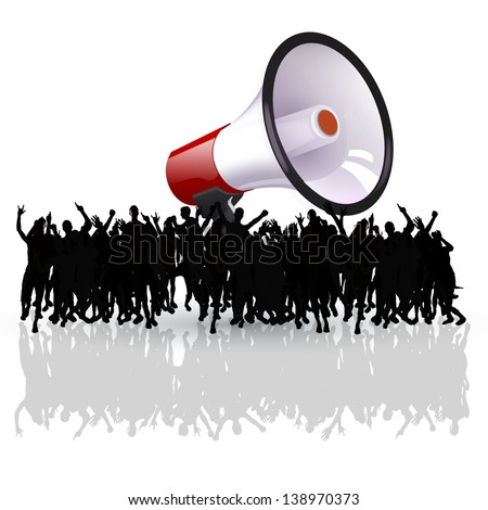 black people silhouettes shouting. crowd concept - stock vector