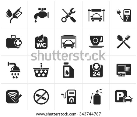 Black petrol station icons - vector icon set - stock vector