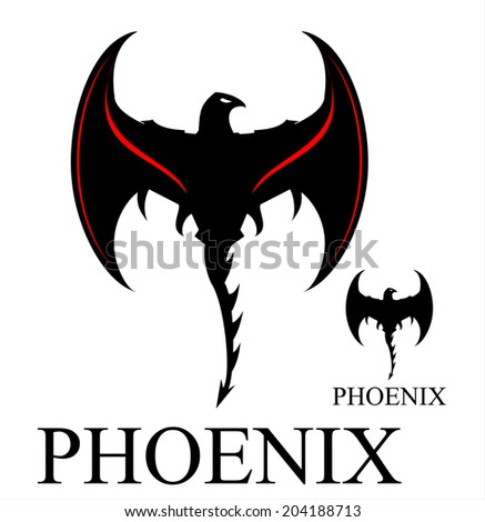 Black Phoenix with the axe Wings - stock vector