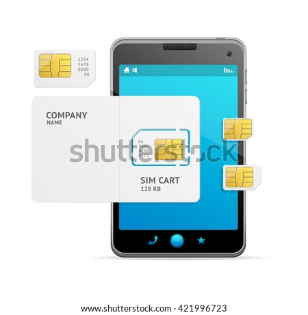 Black Phone and Sim Card Template. Vector illustration - stock vector
