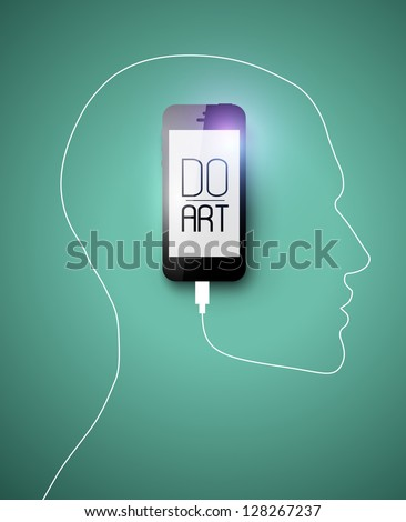 Black Phone forming human face profile with its cable. Creative concept for your design idea, Eps10, vector illustration. Be free! - stock vector