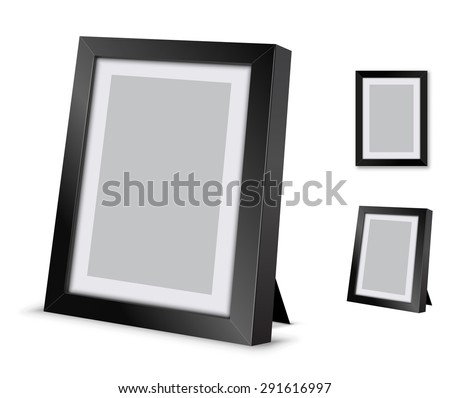 Black picture frame at the desk, vector illustration - stock vector