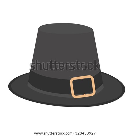 Black pilgrim hat with buckle vector illustration. Thanskgiving holiday symbol - stock vector