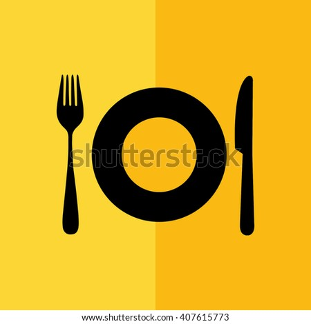 Black plate fork knife icon vector illustration. Yellow background - stock vector
