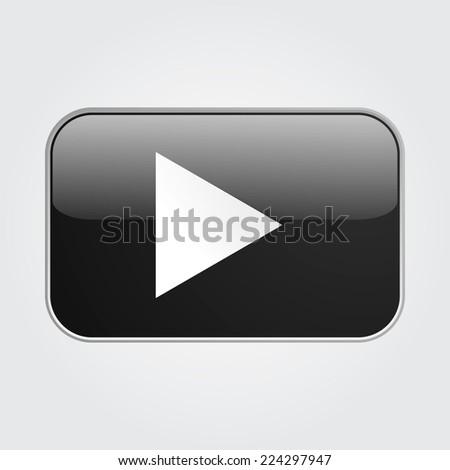 black play button - stock vector