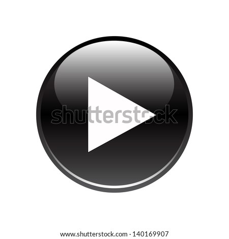 Black play glossy button on white - stock vector