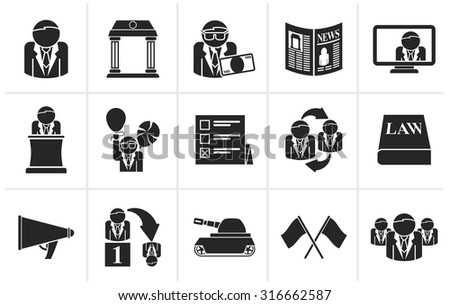 Black Politics, election and political party icons - vector icon set - stock vector