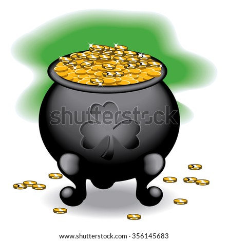 Black pot of gold overflowing with gold coins - stock vector