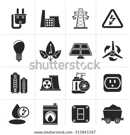 Black power, energy and electricity icons - vector icon set - stock vector