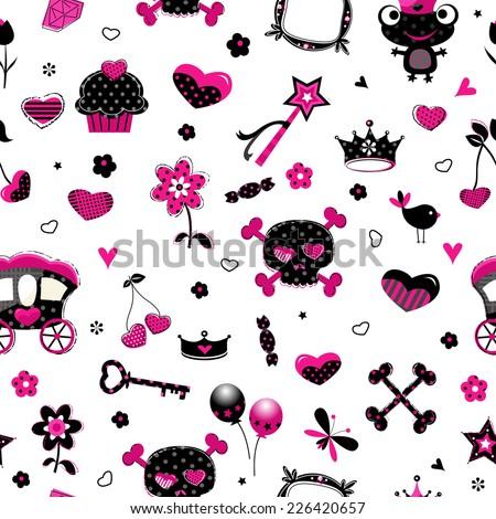 black princess accessories seamless pattern - stock vector