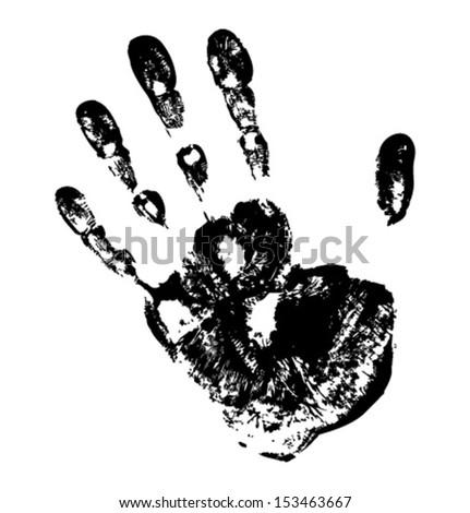 Black Print of hand, vector grunge illustration   - stock vector