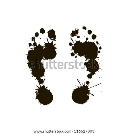 Black prints of a human foot on a white background. Vector - stock vector