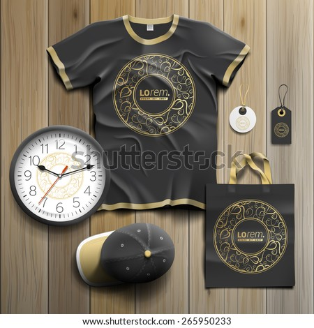 Black promotional souvenirs design for corporate identity with round golden element and floral pattern. Stationery set - stock vector