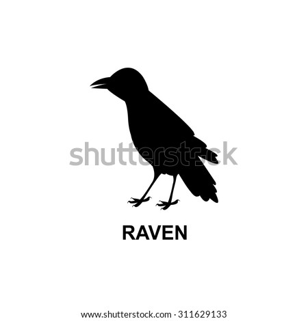Black raven. Bird icon - stock vector
