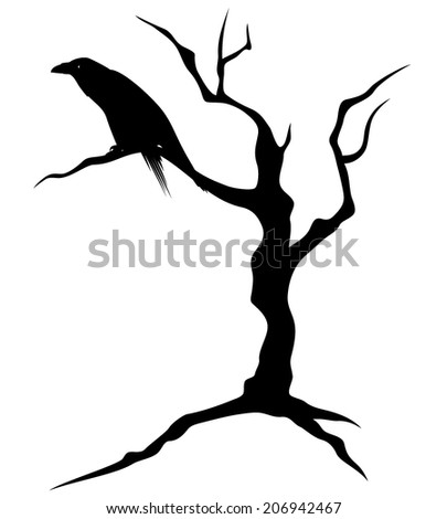 black raven bird sitting on the bare twisted tree - ominous silhouette for Halloween theme design - stock vector