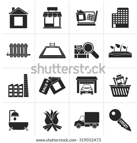 Black Real Estate and building icons - Vector Icon Set - stock vector