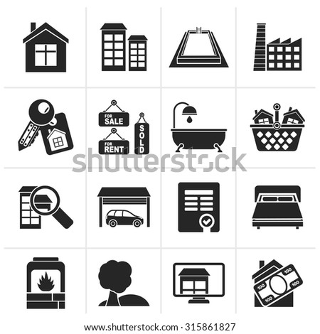 Black Real Estate objects and Icons - Vector Icon Set - stock vector