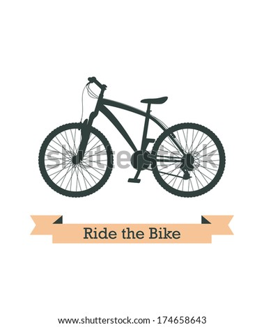 Black realistic bicycle silhouette. Vector image. - stock vector