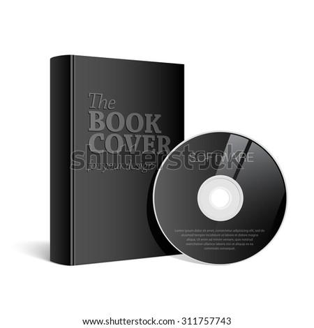 Black  Realistic Blank book cover vector illustration - stock vector