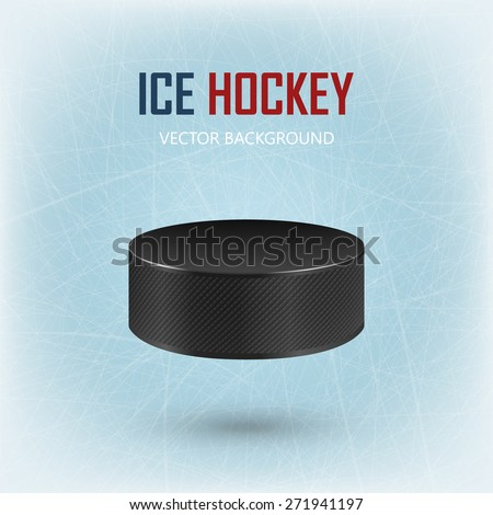 Black realistic hockey puck on ice rink - vector EPS10 background.  - stock vector