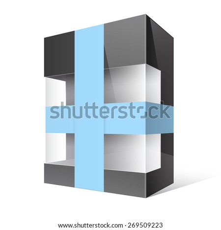 Black Realistic Package Cardboard Box with a transparent plastic window and blue ribbon  - stock vector